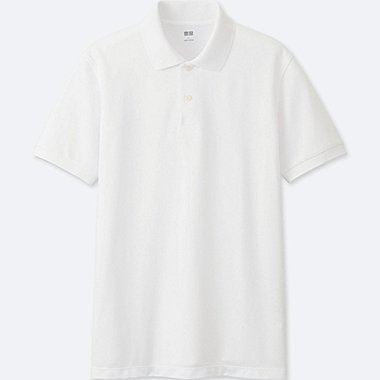 MEN DRY PIQUE SHORT SLEEVE POLO SHIRT, WHITE, medium