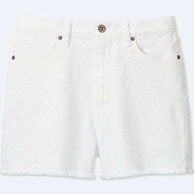 WOMEN HIGH RISE DENIM SHORTS, WHITE, medium