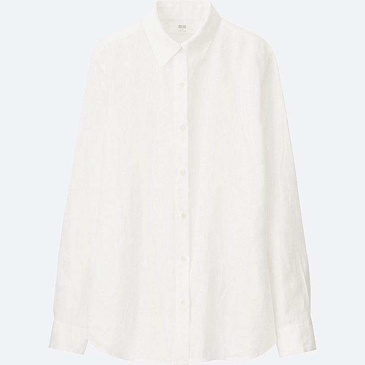 WOMEN PREMIUM LINEN LONG-SLEEVE SHIRT, WHITE, large