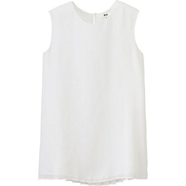 WOMEN Pleated Sleeveless Blouse