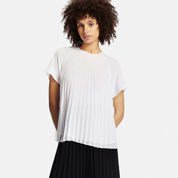 WOMEN PLEATED SHORT SLEEVE T BLOUSE, WHITE, large