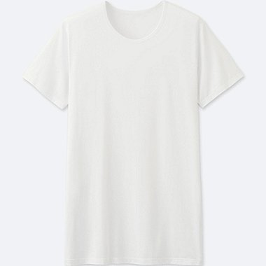 MEN AIRism CREWNECK T-SHIRT SHORT SLEEVE, WHITE, medium