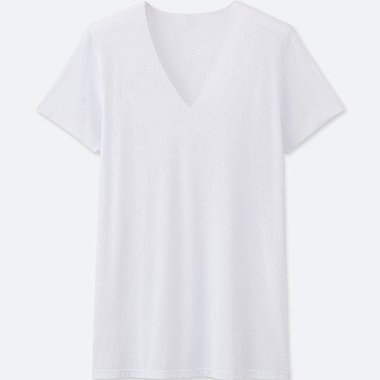 MEN AIRism SEAMLESS V-NECK T-SHIRT SHORT-SLEEVE, WHITE, medium