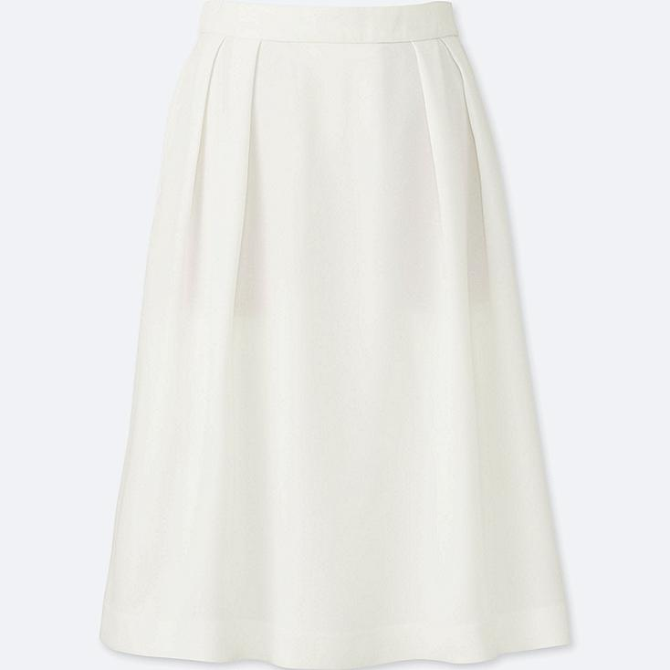WOMEN High Waist Crepe Tucked Skirt