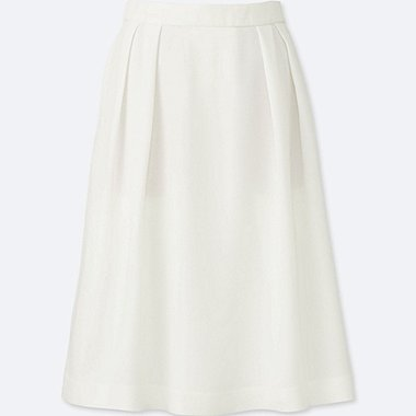 WOMEN HIGH WAIST CREPE TUCKED SKIRT, WHITE, medium