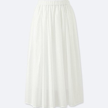 WOMEN High Waist Cotton Lawn Volume Skirt