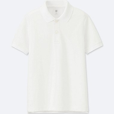 BOYS DRY PIQUE SHORT-SLEEVE POLO SHIRT, WHITE, medium