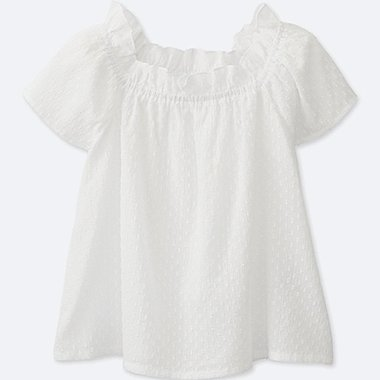 GIRLS SHORT SLEEVE BLOUSE, WHITE, medium