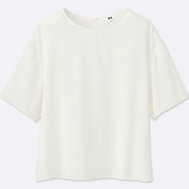 WOMEN CREPE SHORT SLEEVE T BLOUSE, WHITE, medium