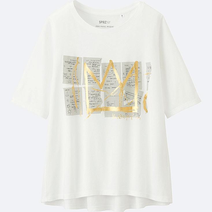 WOMEN SPRZ NY SHORT-SLEEVE GRAPHIC T-SHIRT (JEAN-MICHEL BASQUIAT), WHITE, large