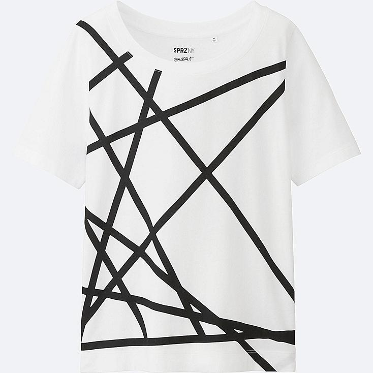 WOMEN SPRZ NY Super Geometric GRAPHIC T-SHIRT (FRANCOIS MORELLET), WHITE, large