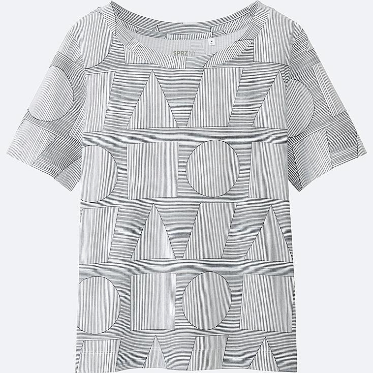 WOMEN SPRZ NY Super Geometric GRAPHIC T-SHIRT (SOL LEWITT), WHITE, large