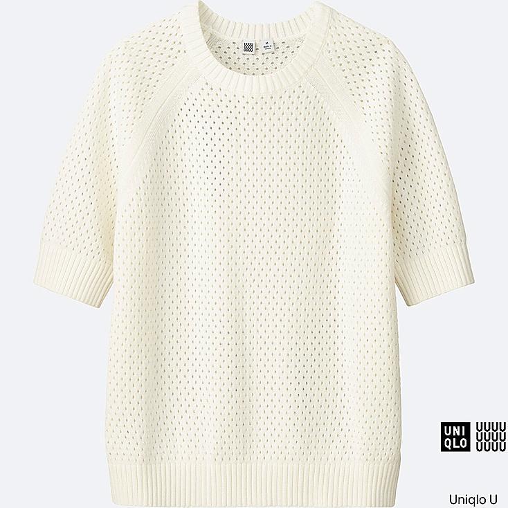 WOMEN Uniqlo U Cotton Mesh Crew Neck Sweater