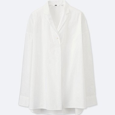 WOMEN Extra Fine Cotton Oversized Open Collar Shirt