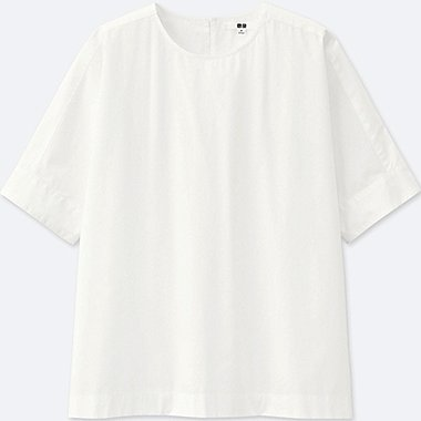 WOMEN EXTRA FINE COTTON SHORT-SLEEVE T BLOUSE, WHITE, medium