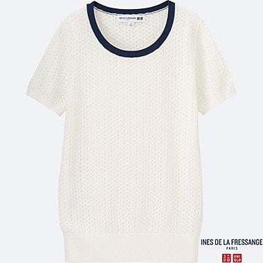 WOMEN INES Pointelle Crew Neck Sweater