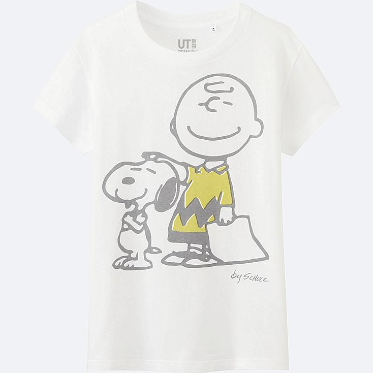 WOMEN PEANUTS SHORT SLEEVE GRAPHIC T-SHIRT, WHITE, large