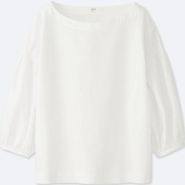 WOMEN COTTON LINEN 3/4 SLEEVE T BLOUSE, WHITE, medium