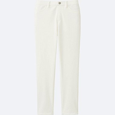 WOMEN CROPPED LEGGINGS PANTS, WHITE, medium