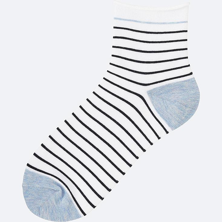 WOMEN SOCKS (STRIPE), WHITE, large