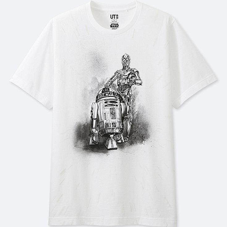 MEN REFLECTIVE PRINT (STAR WARS) GRAPHIC T-SHIRT, WHITE, large