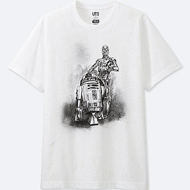 MEN REFLECTIVE PRINT (STAR WARS) GRAPHIC T-SHIRT, WHITE, medium