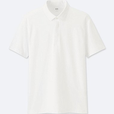 MEN DRY COMFORT SHIRT COLLAR POLO SHIRT, WHITE, medium