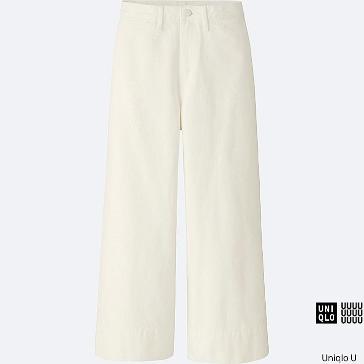 WOMEN U DENIM WIDE LEG PANTS, WHITE, large