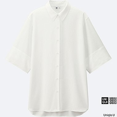 WOMEN Uniqlo U Easy Care Silk Touch Oversized Short Sleeve Shirt