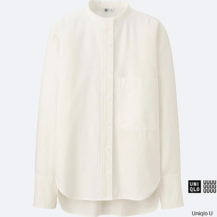 WOMEN Uniqlo U Oxford Stand Collar Long Sleeve Shirt