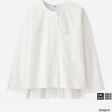 WOMEN Uniqlo U Oxford Collarless Long Sleeve Shirt