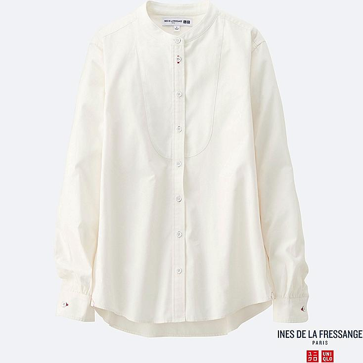 WOMEN INES Cotton Poplin Stand Collar Long Sleeve Shirt