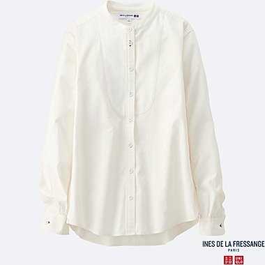 WOMEN INES Cotton Poplin Stand Collar Long Sleeve Shirt