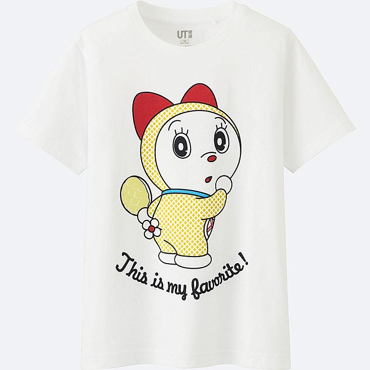 KIDS DORAEMON SHORT SLEEVE GRAPHIC T-SHIRT, WHITE, large