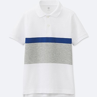 BOYS Striped Dry Pique Short Sleeve Polo Shirt