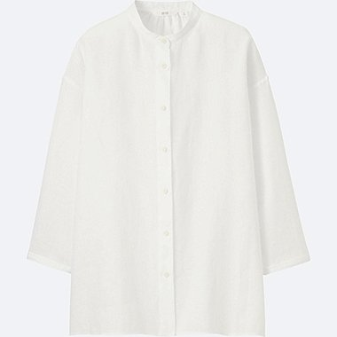 WOMEN PREMIUM LINEN STAND COLLAR 3/4 SLEEVE SHIRT, WHITE, medium