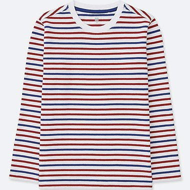 BOYS STRIPED CREWNECK LONG-SLEEVE T-SHIRT, WHITE, medium