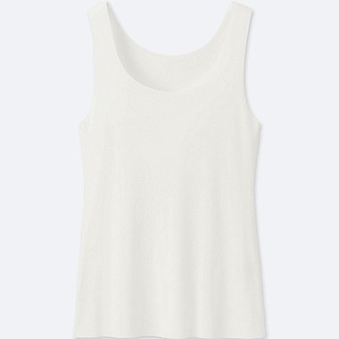 WOMEN AIRism SEAMLESS SLEEVELESS TOP, WHITE, medium