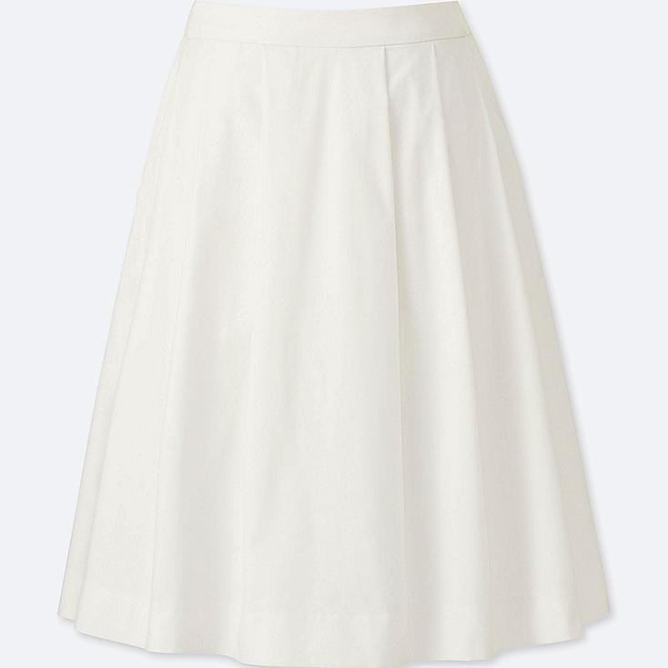 WOMEN DRY STRETCH TUCKED SKIRT, WHITE, large