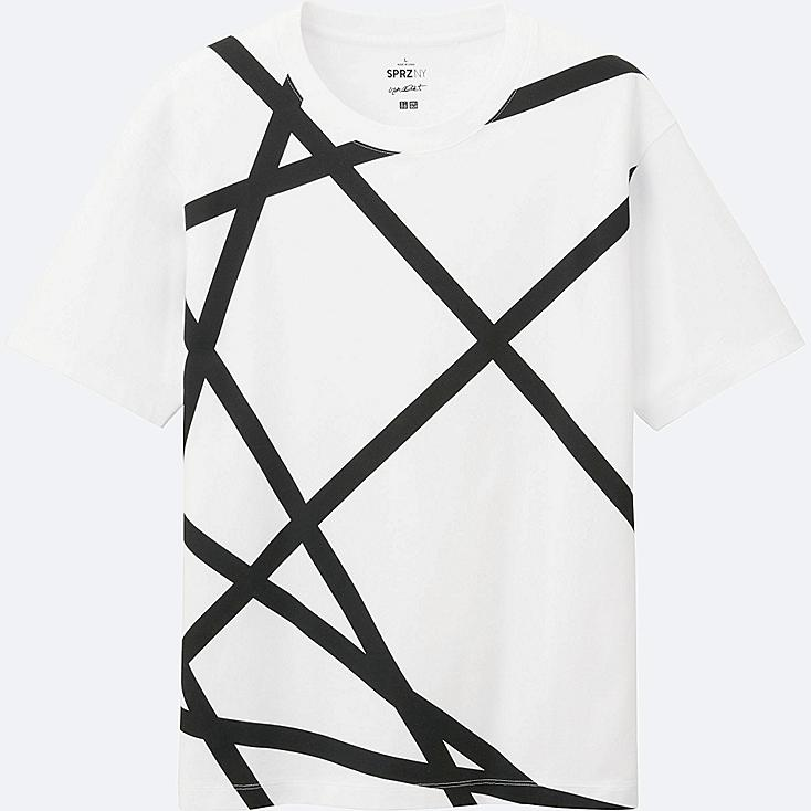 MEN SPRZ NY Super Geometric GRAPHIC T-SHIRT (FRANCOIS MORELLET), WHITE, large