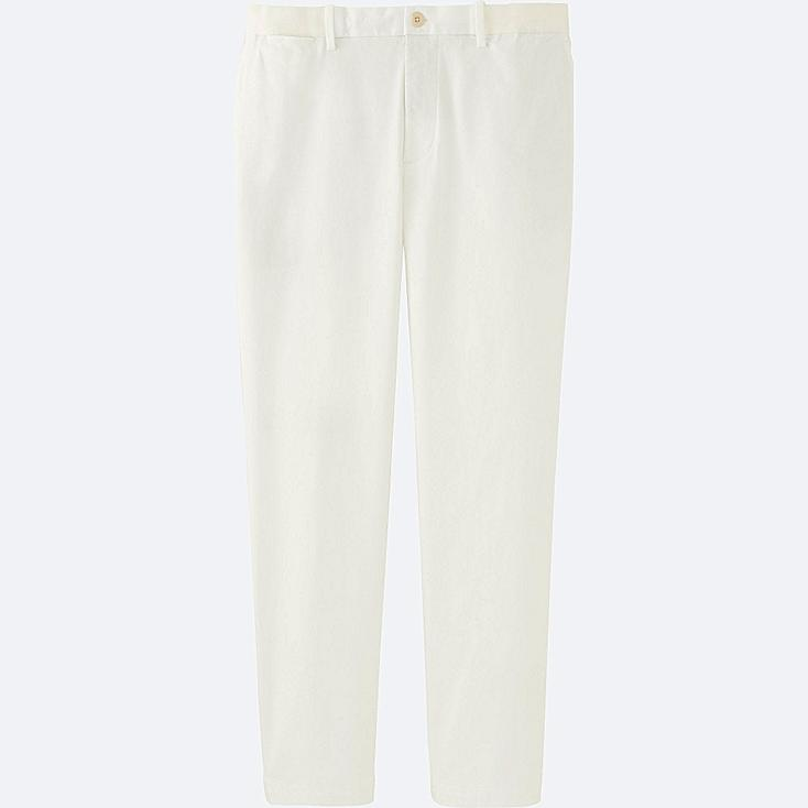 MEN RELAXED ANKLE PANTS, WHITE, large