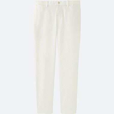 MEN RELAXED ANKLE PANTS (COTTON), WHITE, medium