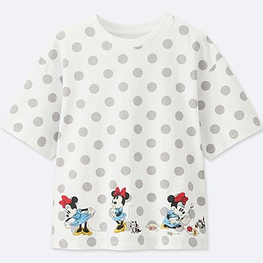 WOMEN Disney (MINNIE MOUSE LOVES DOTS) SHORT-SLEEVE GRAPHIC T-SHIRT, WHITE, medium