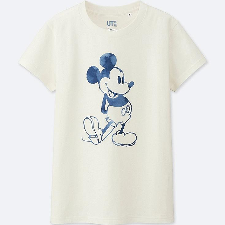 WOMEN MICKEY BLUE SHORT SLEEVE GRAPHIC T-SHIRT, WHITE, large