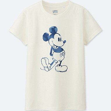 WOMEN MICKEY BLUE SHORT SLEEVE GRAPHIC T-SHIRT, WHITE, medium