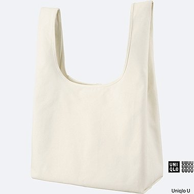 WOMEN U CANVAS TOTE BAG, WHITE, medium