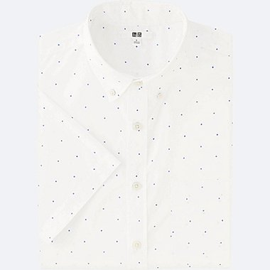 MEN BROADCLOTH PRINTED SHORT SLEEVE SHIRT, WHITE, medium