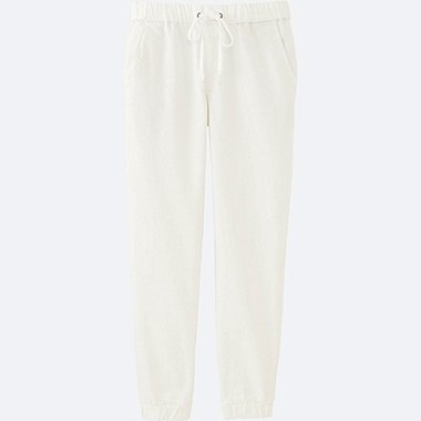 WOMEN DENIM JOGGER PANTS, WHITE, medium