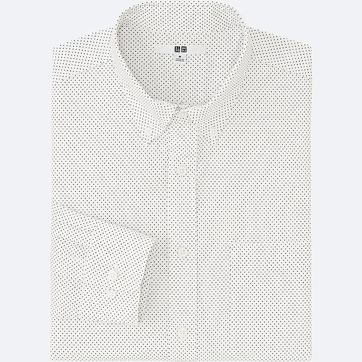 MEN EXTRA FINE COTTON BROADCLOTH PRINTED LONG SLEEVE SHIRT, WHITE, large
