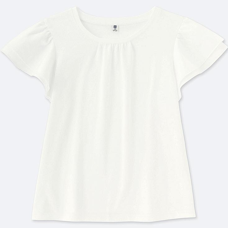 GIRLS RUFFLE SHORT-SLEEVE T-SHIRT, WHITE, large